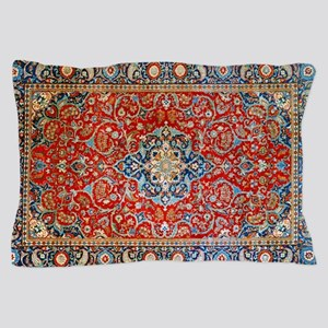 Red Blue Antique Persian Rug Pillow Case