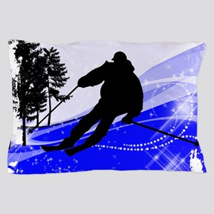 Downhill on the Ski Slope Edges Pillow Case