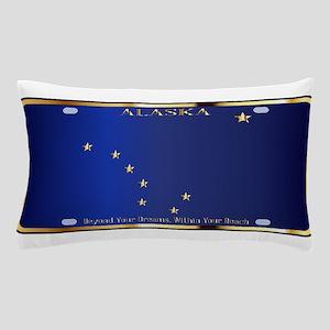 Alaska State License Plate Flag Pillow Case