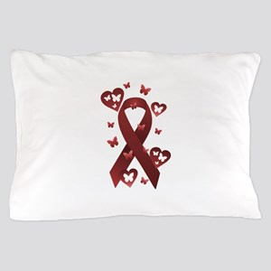 Red Awareness Ribbon Pillow Case
