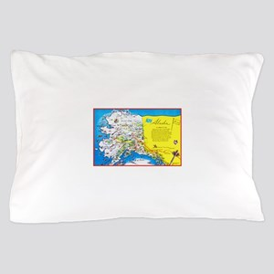 Alaska Map Greetings Pillow Case