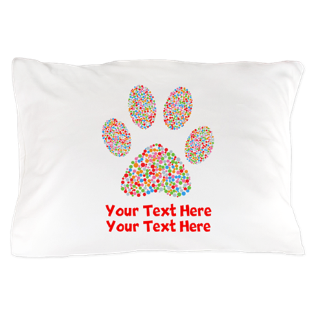 dog paw print customize pillow case by designsanddesigns
