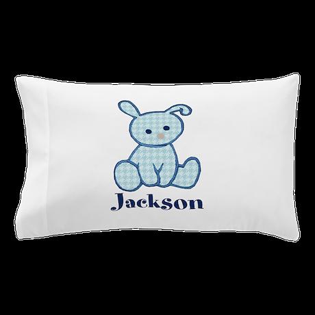 Custom Easter Blue Bunny Pillow Case