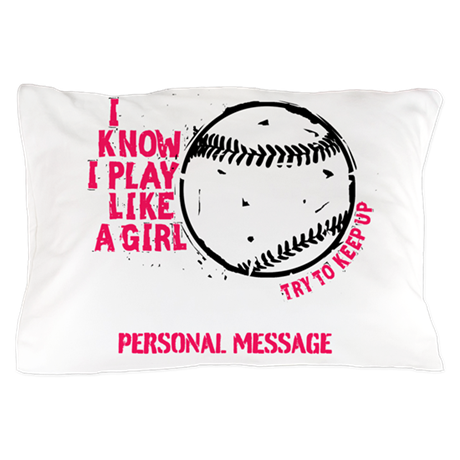 Personalized Softball Like a Girl Pillow Case