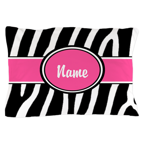 Pink Zebra Personalized Pillow Case