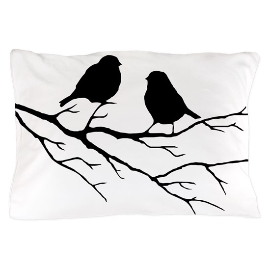 Two Little White Sparrow Birds Black Silhouette Pillowcase By Countrymousestudio Cafepress