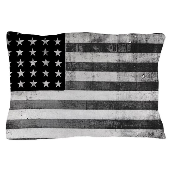 American Vintage Flag Black and White horizontal