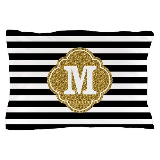 Mod Black White Stripes Pattern Gold Mongram