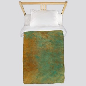 Abstract in Turquoise and Copper Twin Duvet Cover
