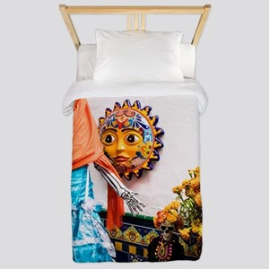 Day of the Dead Altar with Skelet Twin Duvet Cover