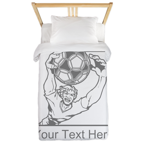 Soccer Goal Keeper and Text. Twin Duvet