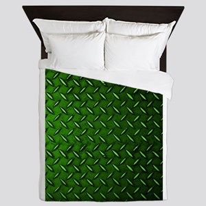 Green Diamond Plate Queen Duvet