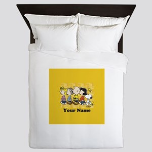 Peanuts Walking Personalized Buttons Queen Duvet