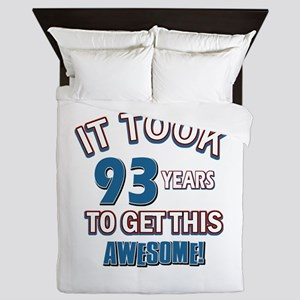 Awesome 93 year old birthday design Queen Duvet