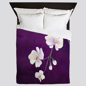 Dramatic Purple Orchids Queen Duvet