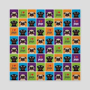 I Love Pugs Sm Color Squares Queen Duvet