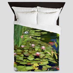 Koi Pond and Water Lilies copy Queen Duvet