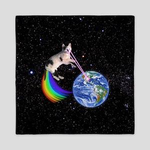 Laser Rainbow Space Cat Queen Duvet