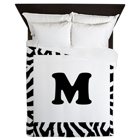 Zebra Print. Custom Letter. Queen Duvet