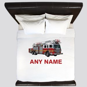 FIRETRUCK with Any Name or Text King Duvet