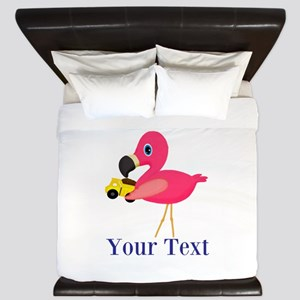 Personalizable Flamingo Dump Truck King Duvet