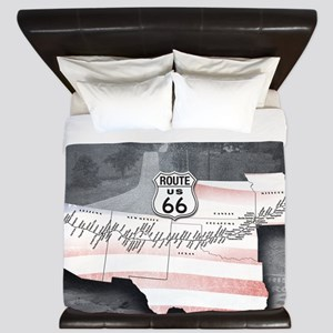 Route 66 Flag Poster King Duvet