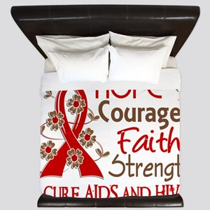D Hope Courage Faith Strength 3 AIDS King Duvet
