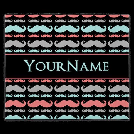 Monogram Girly Mustache Chic King Duvet By