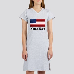 Personalized American Flag Women's Nightshirt