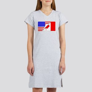 United States and Canada Flags Women's Nightshirt