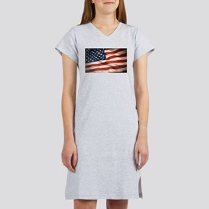 Grunge USA Flag Canvas Print Women's Nightshirt