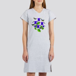 Violets and Butterflies Women's Nightshirt