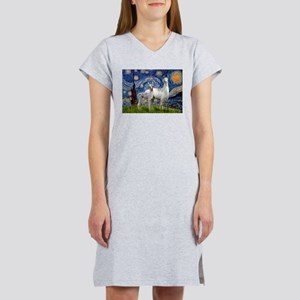 Starry Night Llama Duo Women's Nightshirt
