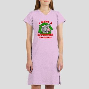 Hippopotamus for Christmas Women's Nightshirt