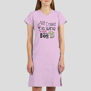 Wine & Dog Women's Nightshirt