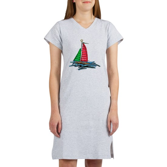 Red and Green Xmas Sailboat