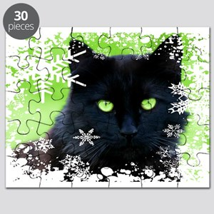 BLACK CAT & SNOWFLAKES Puzzle