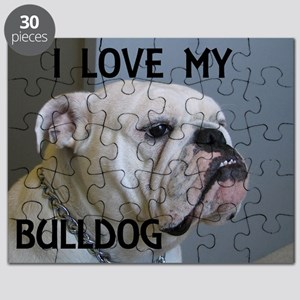bulldog picture with love white Puzzle