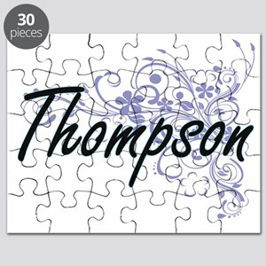 Thompson surname artistic design with Flowe Puzzle