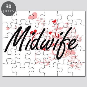 Midwife Artistic Job Design with Hearts Puzzle