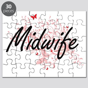Midwife Artistic Job Design with Butterflie Puzzle