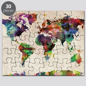 World Map Urban Watercolor 14x10 Puzzle