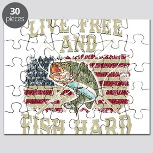 Live Free and Fish Hard Patriotic Fishing Puzzle