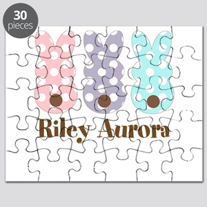 Custom name Polka dot bunnies Puzzle