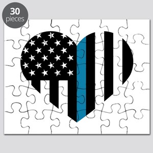 Thin Blue Line American Flag Heart Puzzle