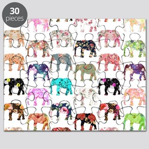 Girly Whimsical Retro Floral Elephants Patt Puzzle