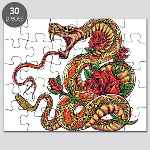 Decorated Cobra Snake with Roses Puzzle