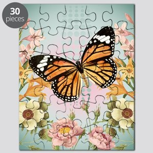 Modern Vintage Monarch butterfly Puzzle