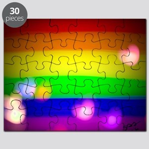 Hearts gay rainbow art Puzzle