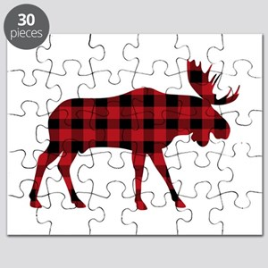 Plaid Moose Animal Silhouette Puzzle